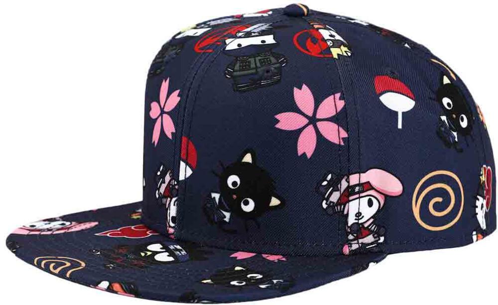 Naruto X Hello Kitty Aop Flat Bill Snapback Bb Cap - Naruto X Hello Kitty Aop Flat Bill Snapback Bb Cap