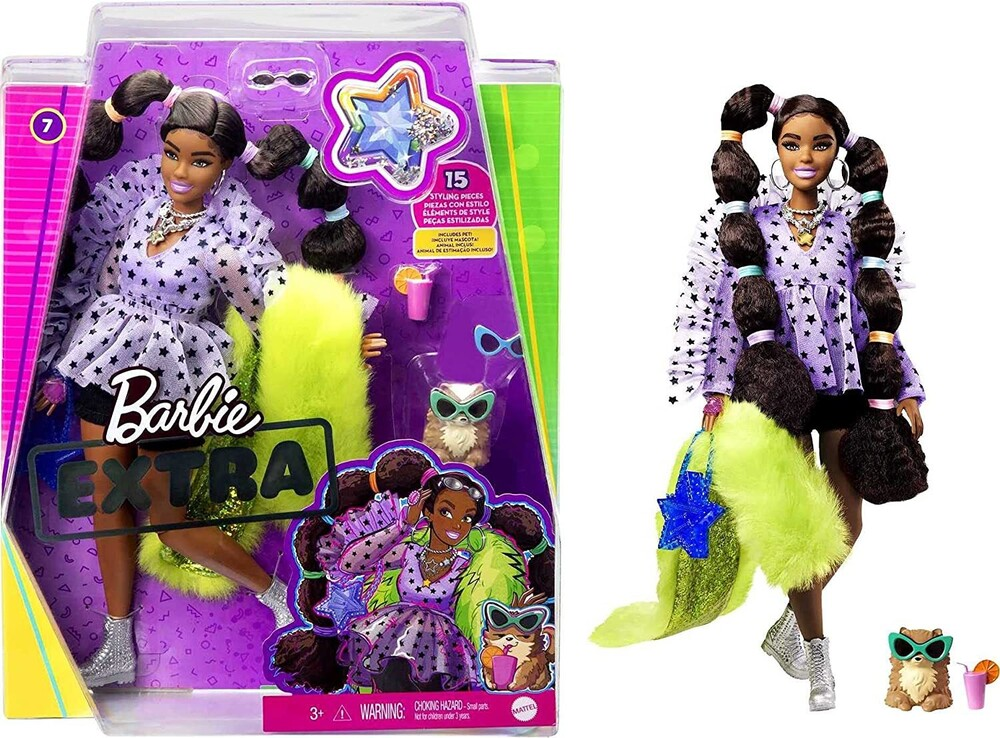 Barbie - Mattel - Barbie Extra Doll, Pigtails with Bobble Hair Ties