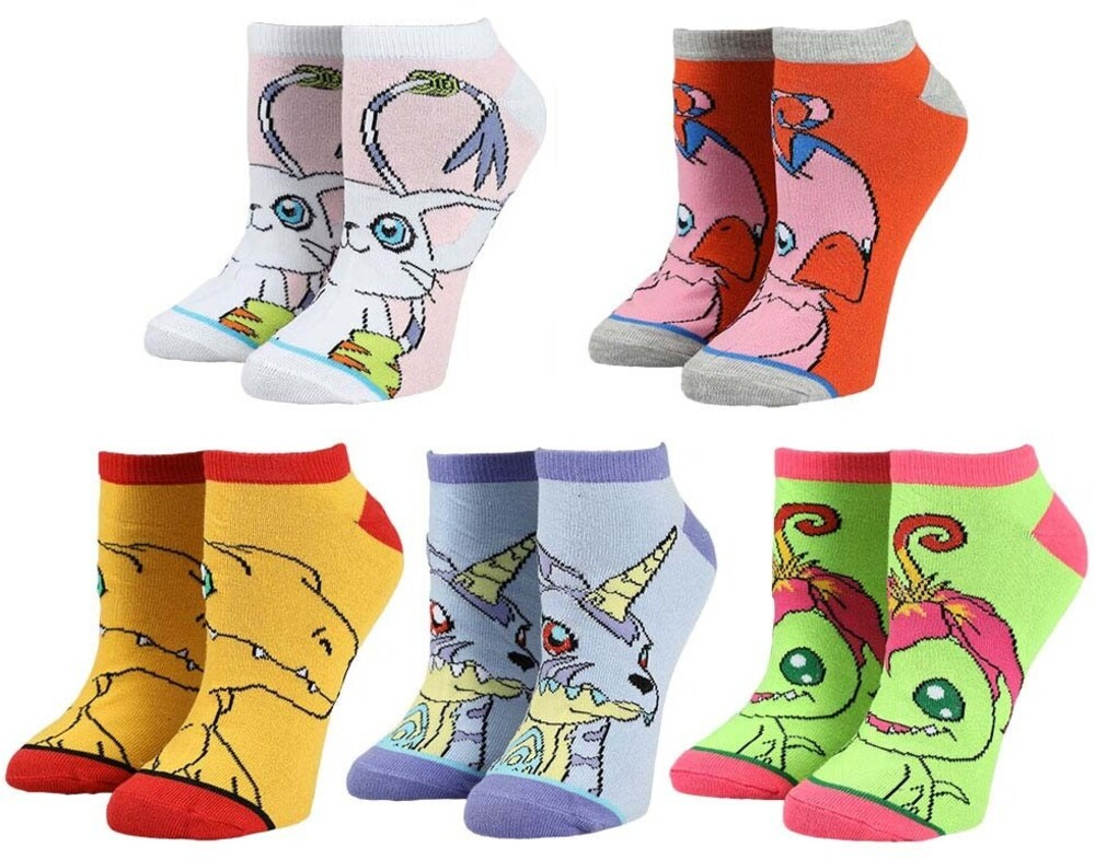 Digimon 5 Pack Ankle Socks Womens Shoe Size 5-10 - Digimon 5 Pack Ankle Socks Womens Shoe Size 5-10