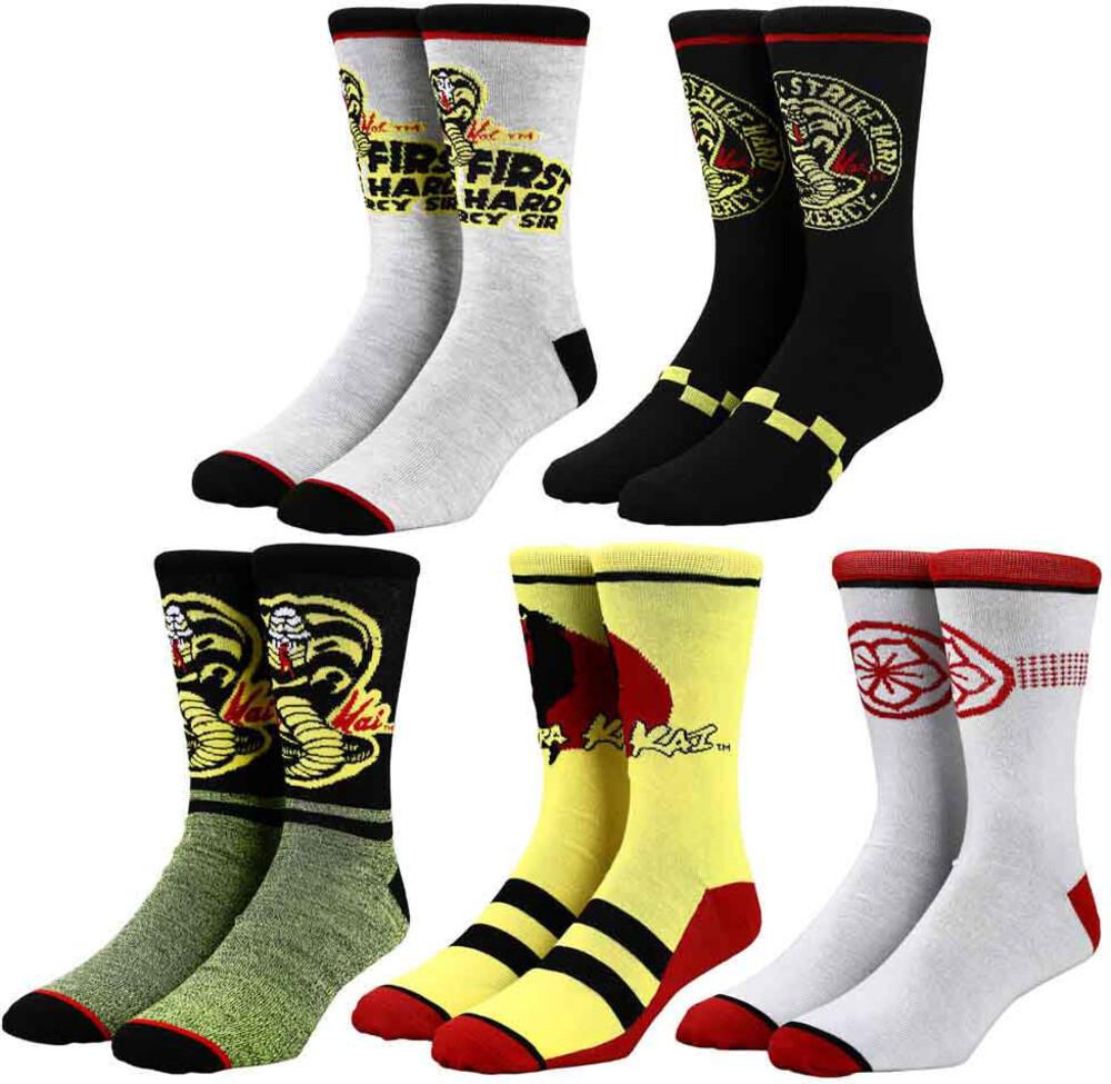 Cobra Kai 5 Pair Crew Socks 8-12 - Cobra Kai 5 Pair Crew Socks 8-12 (Mult) (Sock)