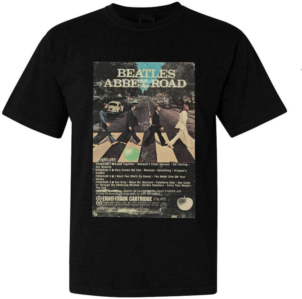 The Beatles - The Beatles Abbey Road 8 Track Tape Cover Art Black Unisex Short Sleeve T-Shirt Medium