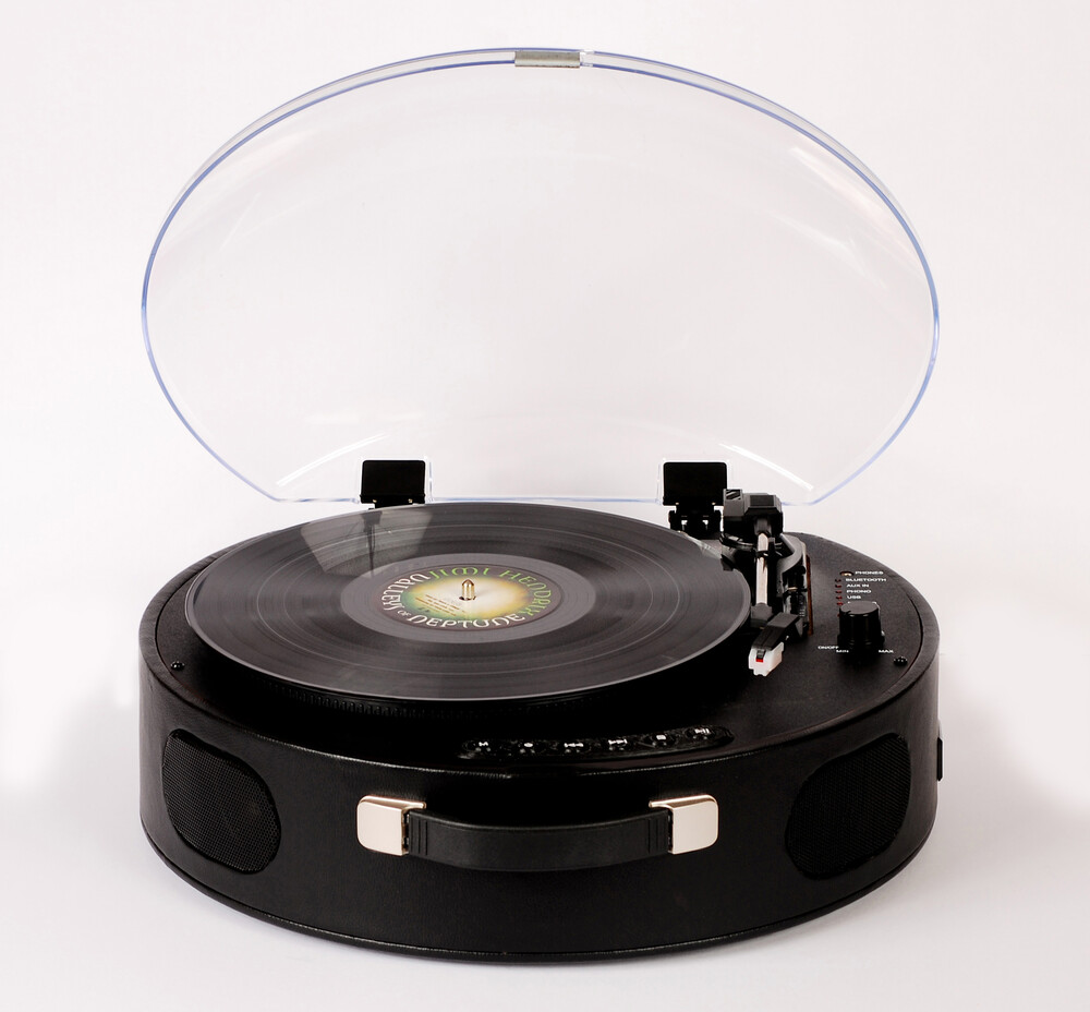- ROKiT UFO ROKUFO-004-BlK Bluetooth Wireless Rechargeable PortableBriefcase Turntable Built In Speakers (Black)
