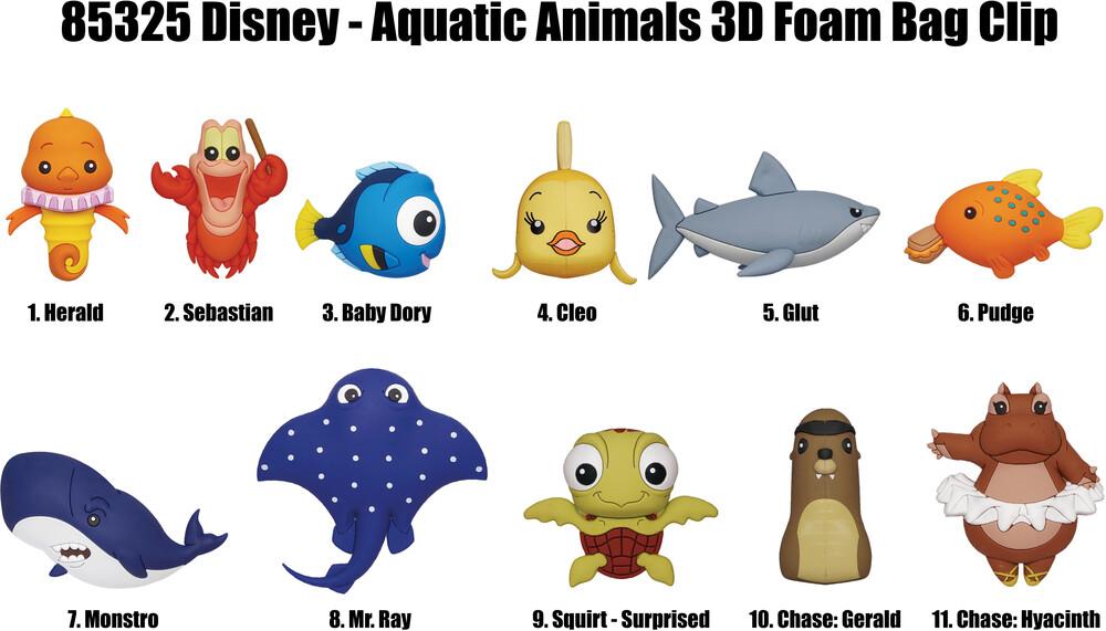 Disney Aquatic Animals 3D Foam Bag Clip Series 34 - Disney Aquatic Animals 3d Foam Bag Clip Series 34