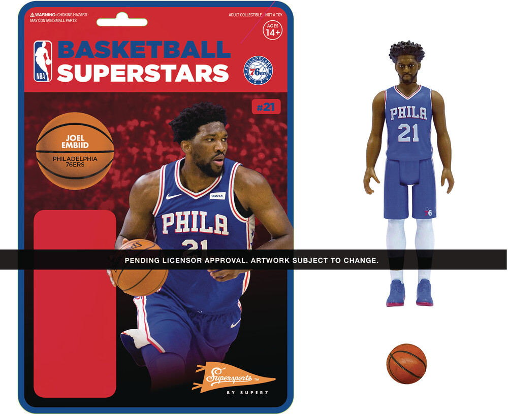 NBA Reaction Figure - Joel Embiid (76Ers) - Super7 - NBA ReAction Figure - Joel Embiid (76ers)