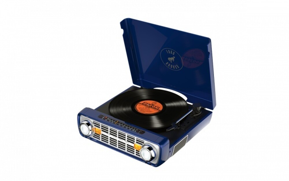 Ion It100Nv Bronco LP 4 in 1 Turntable Radio Navy - ION IT100NV Bronco LP 4 IN 1 Retro Turntable Radio Music Center Navy