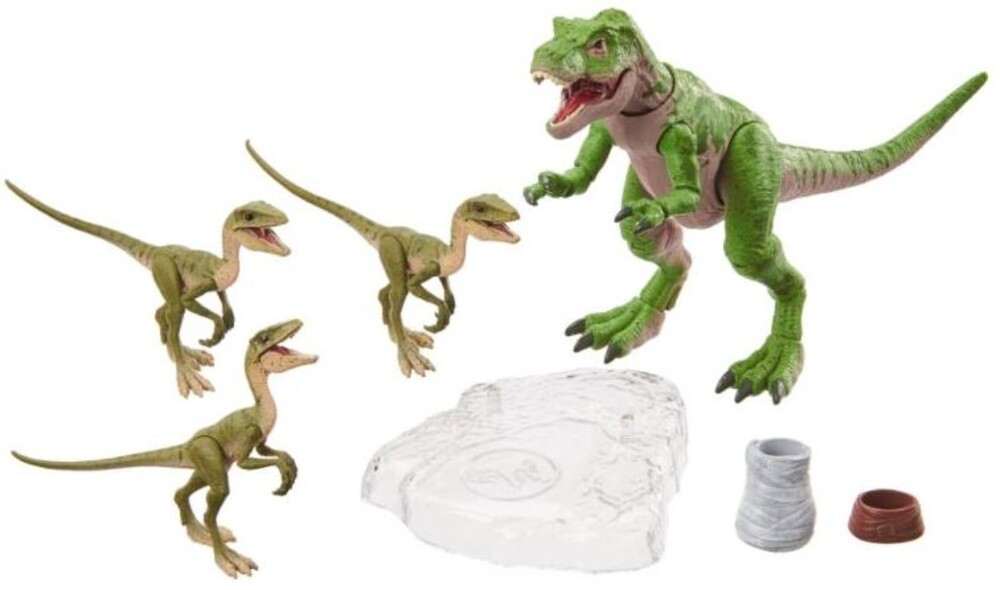 Jurassic World - Mattel - Jurassic World Juvenile TRex And 3 Compys Jurassic Park 2