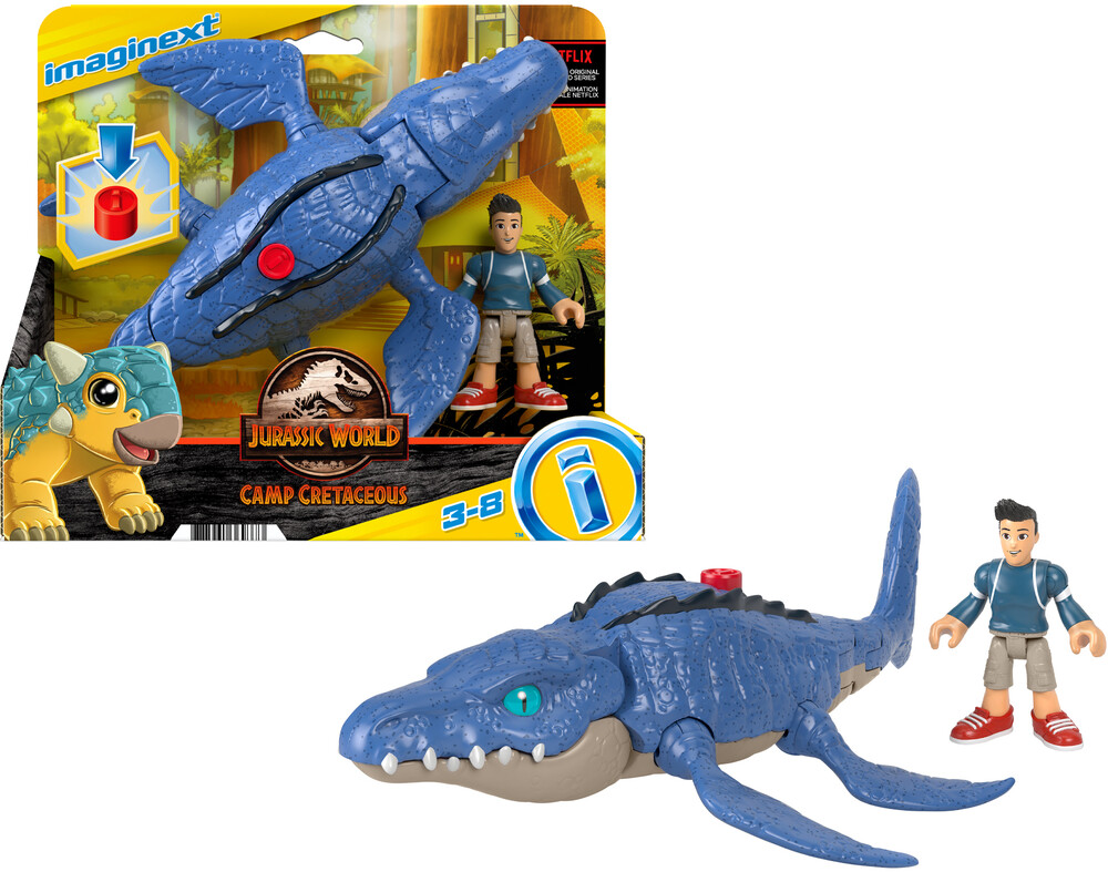 - Fisher Price - Imaginext Jurassic World Camp Cretaceous Mosasaurus & Kenji