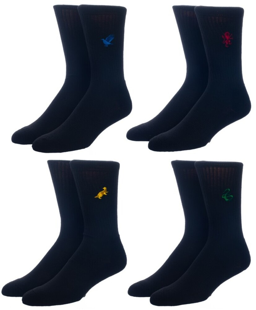 Harry Potter Embroidered 4 Pair Pk Crew Socks 8-12 - Harry Potter Embroidered 4 Pair 4 Pack Crew Socks Men's Shoe Size 8-12