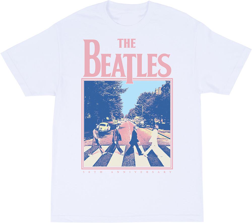 The Beatles - The Beatles Abbey Road 50th Anniversary White Unisex Short SleeveT-Shirt 2XL