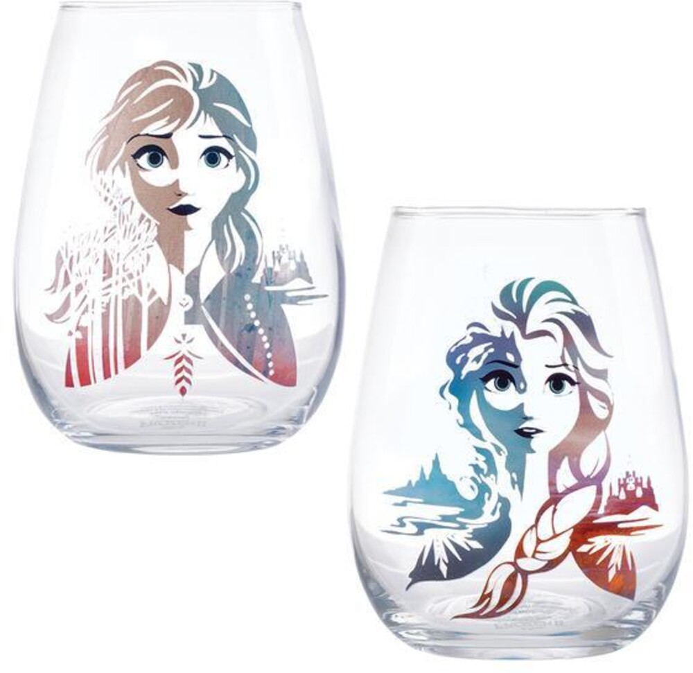 Disney Frozen 2 Elsa & Anna 18 Oz. Tumbler Set - Disney Frozen 2 Elsa & Anna 18 Oz. Contour Glass Tumblers Set Of 2