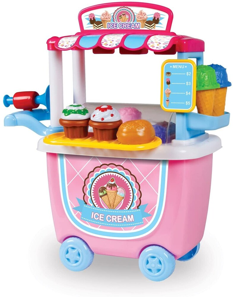 Playsets - 14-Piece Ice Cream Cart Playset