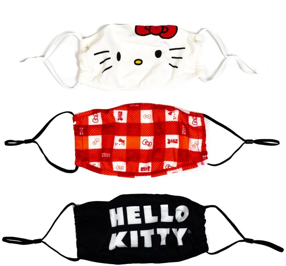 Hello Kitty Adult Size Adjustable Face Covers 3 Pk - Hello Kitty Adult Size Adjustable Face Covers 3 Pk