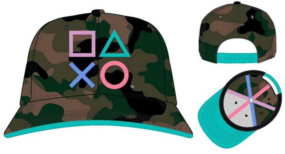 Sony Playstation Embroidered Snapback Baseball Cap - Sony Playstation Embroidered Camo Pre-Curved Snapback Baseball Cap