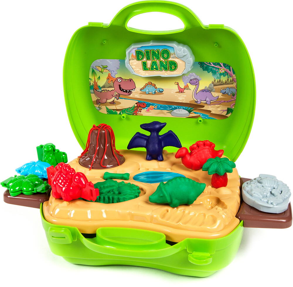 Playsets - World Tech Toys: Activity Dough Dinosaur 26-Piece Suitcase Playset