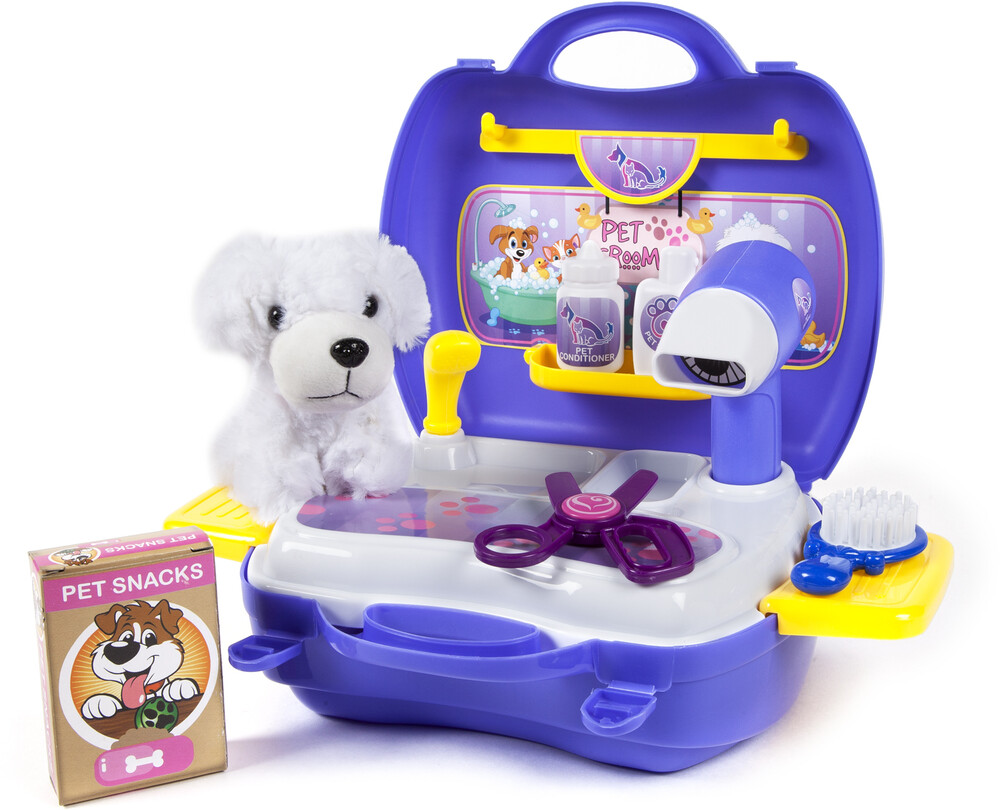 Playsets - World Tech Toys: Pet Grooming 16-Piece Suitcase Playset