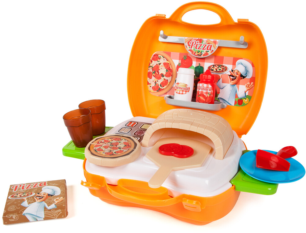 Playsets - World Tech Toys: Pizzeria 22-Piece Suitcase Playset