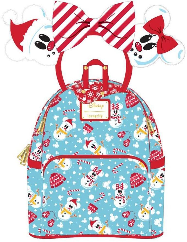 Loungefly Disney: - Minnie Mickey Snowman Aop Mini Backpack Headband S