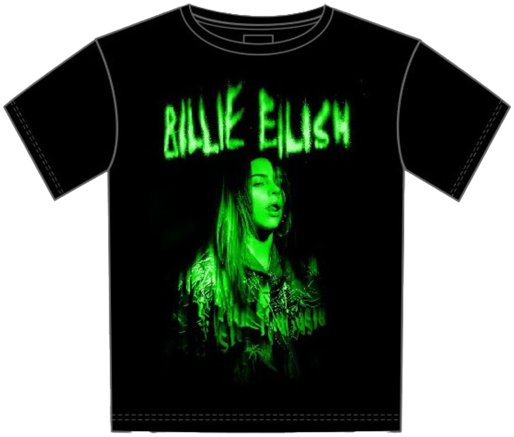 Billie Eilish Green Photo Black Ss Tee Xl - Billie Eilish Green Photo Black Ss Tee Xl