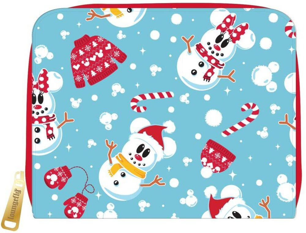 Loungefly Disney: - Seasonal Snowman Minnie Mickey Aop Zip Around Wall