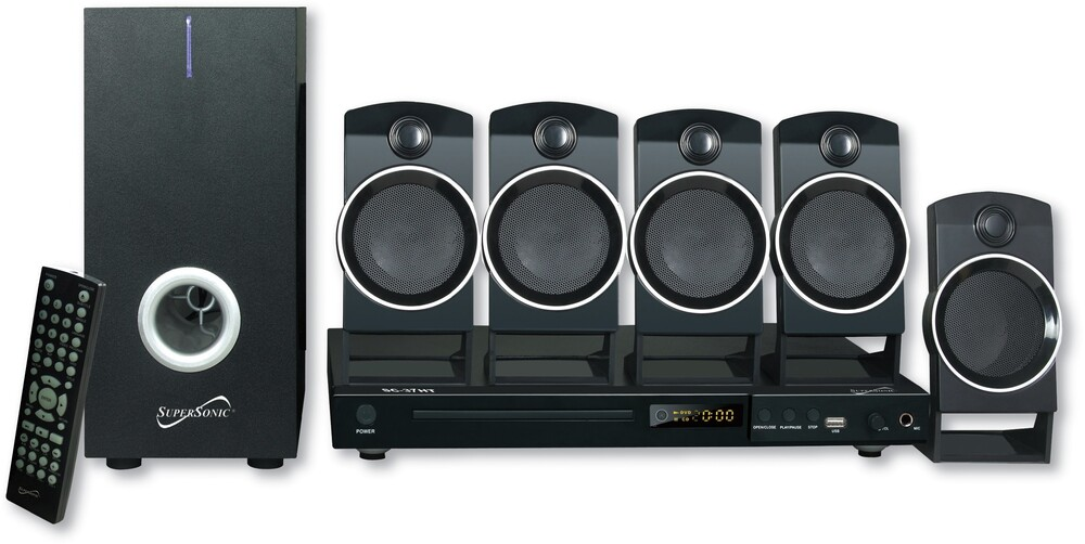 Supersonic Sc37Ht DVD Player 5.1Ch Htib 25W Blk - Super Sonic SC-37HT DVD Player 5.1 Channel DVD Player and 6 Speaker Home Theater System 25 Watts With USB Input & Karoke Functio