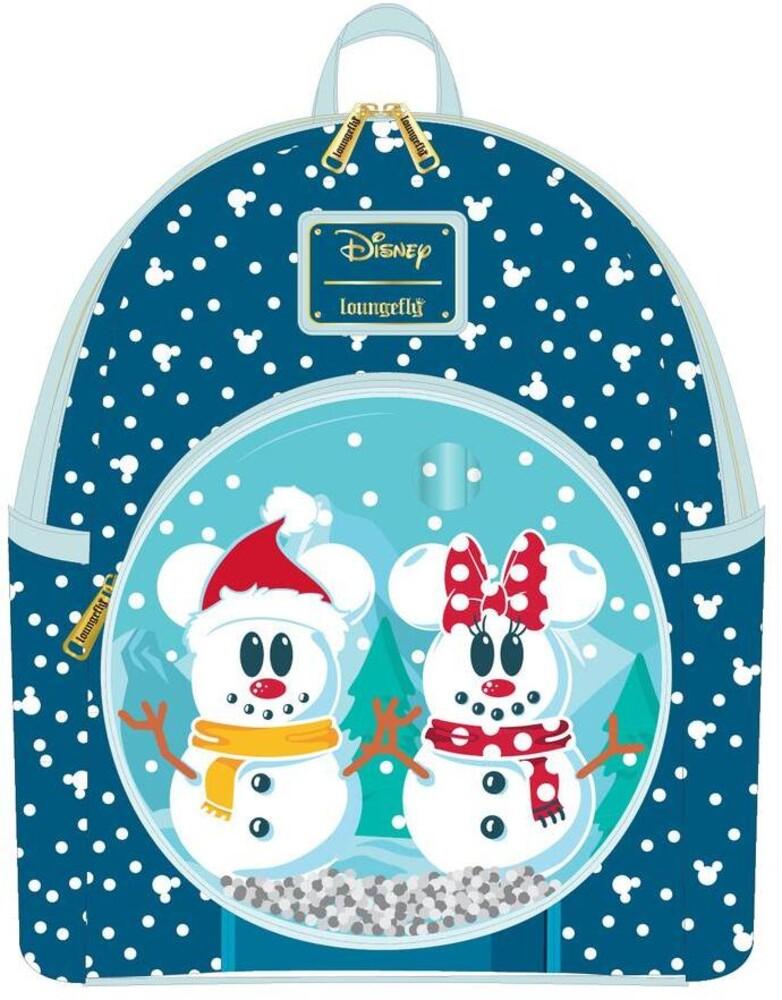 Loungefly Disney: - Snowman Minnie Mickey Snow Globe Mini Backpack