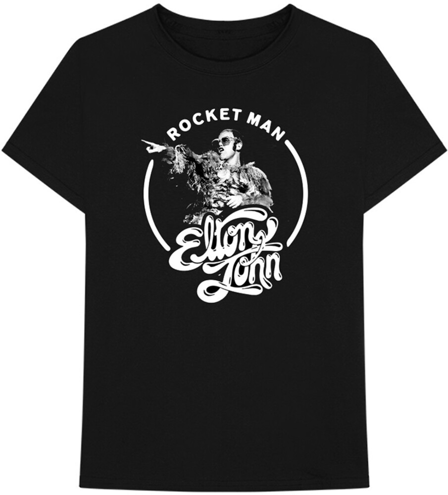 Elton John - Elton John Rocketman Circle Black Unisex Short Sleeve T-shirt 2XL