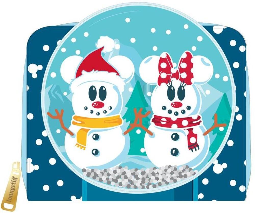 Loungefly Disney: - Snowman Mickey Minnie Snow Globe Zip Around Wallet