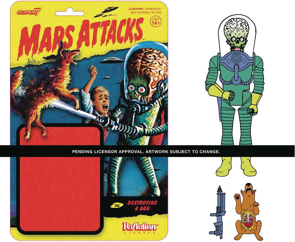 Mars Attacks Mars Alien 2 Gun + Burning Dog - Mars Attacks ReAction Wave 1 - Mars Alien 2 Gun + Burning Dog
