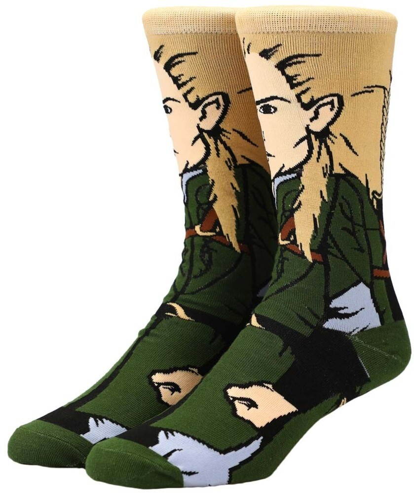 Lord of the Rings Legolas Character Crew Socks - Lord Of The Rings Legolas 360 Character Crew Socks Men's Shoe Size 8-12