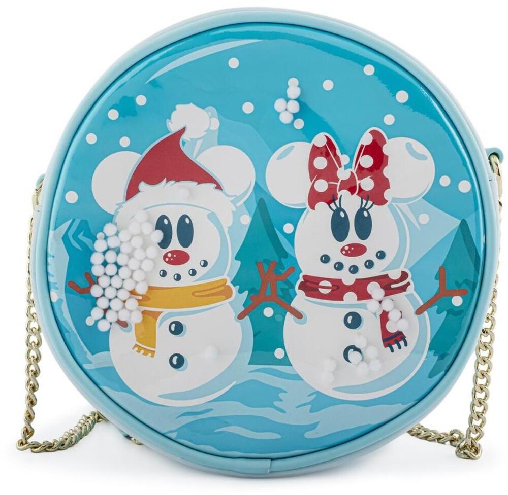 Loungefly Disney: - Snowman Mickey Minnie Snow Globe Crossbody Bag