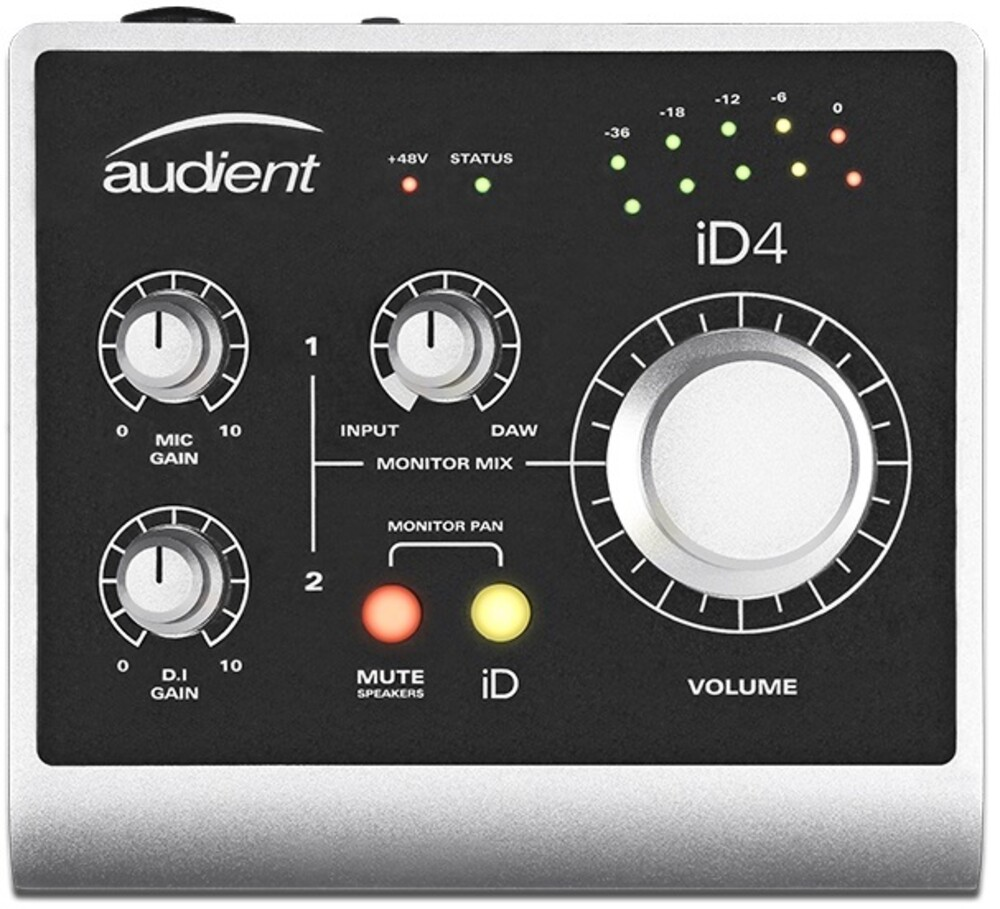 Audient Id4 Desktop Audio Interface Silver - Audient ID4 Desktop Audio Interface with Dual Headphone Outputs iOSCompatibel Plug N Play (Silver)