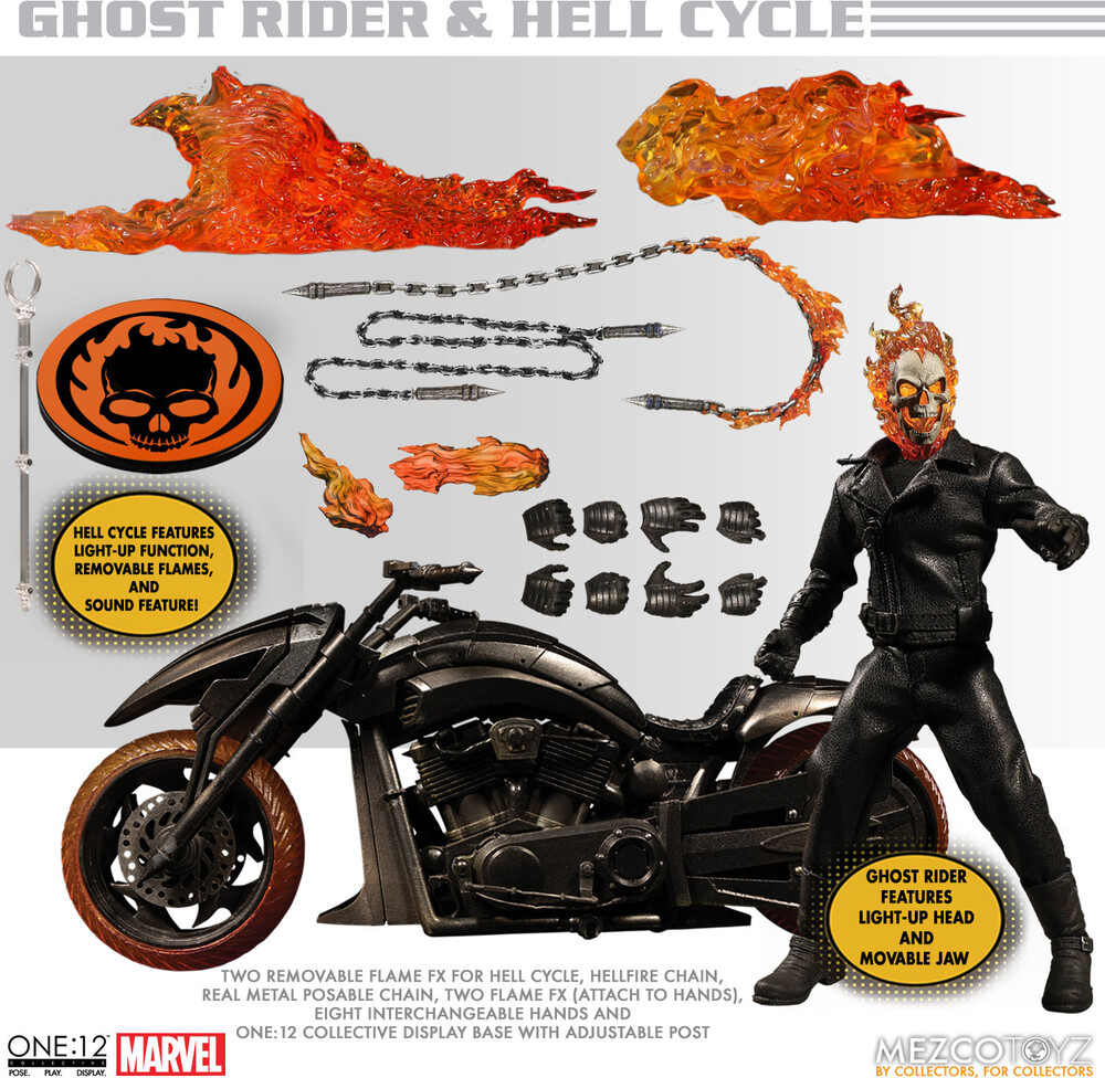 One:12 Collective Ghost Rider & Hell Cycle Set - Ghost Rider & Hell Cycle SetOne:12 Collective Ghost Rider & Hell CycleSet