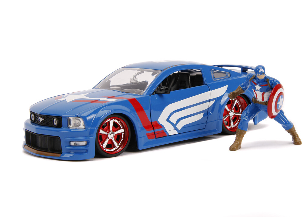 - Jada 1:24 Diecast 2006 Ford Mustang GT With Captain America Figure