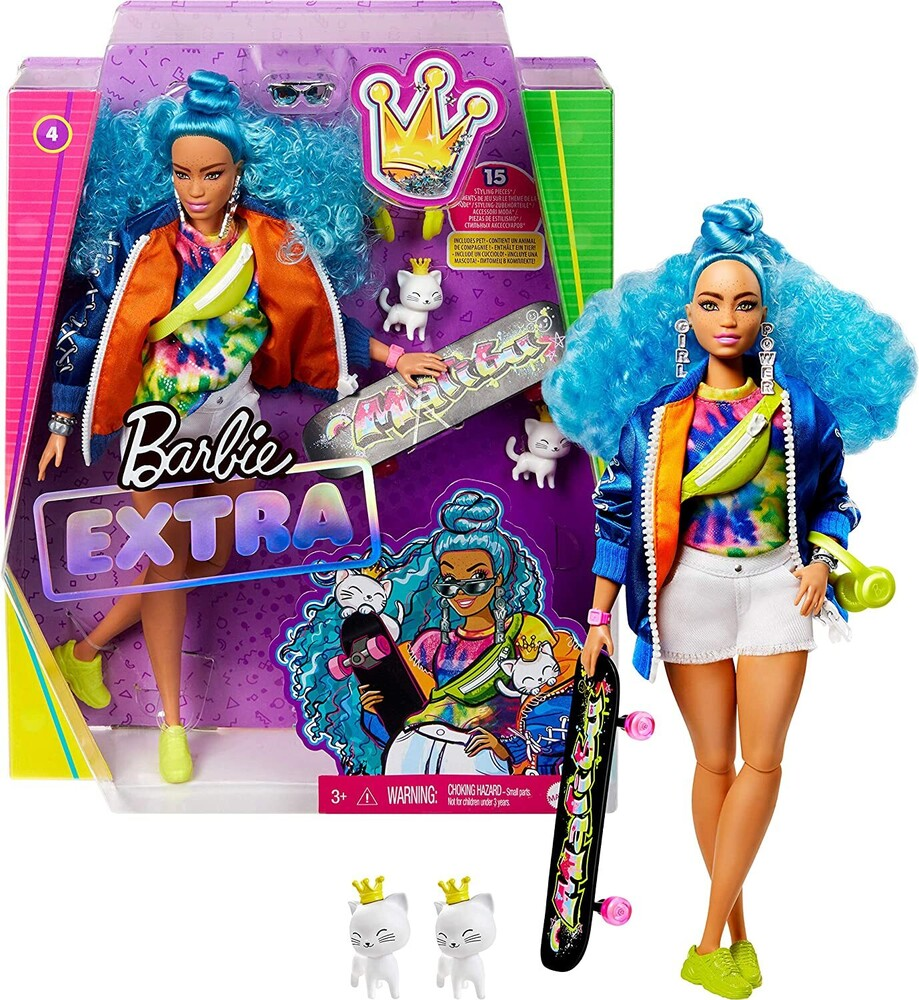 - Mattel - Barbie Extra Doll, Blue Curly Hair