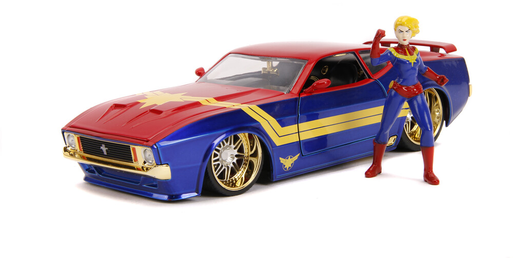 - Jada 1:24 Diecast 1973 Ford Mustang Mach 1 With Captain Marvel Figure