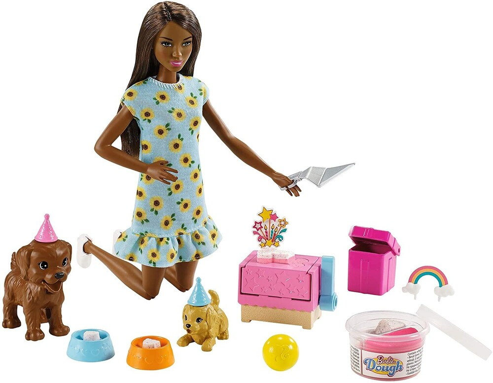 - Mattel - Barbie Doll and Puppy Party Playset, African American