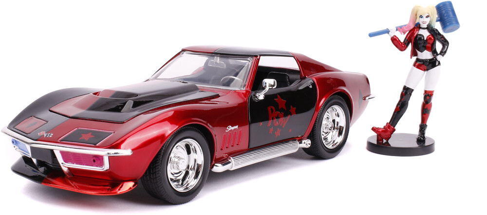 - Jada 1:24 Diecast 1969 Chevy Corvette Stingray With Harley QuinnFigure