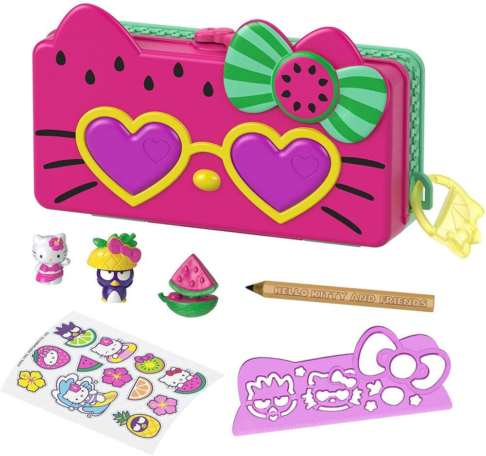 - Mattel - Hello Kitty and Friends Minis Watermelon Beach Party Pencil Case Playset (Sanrio)
