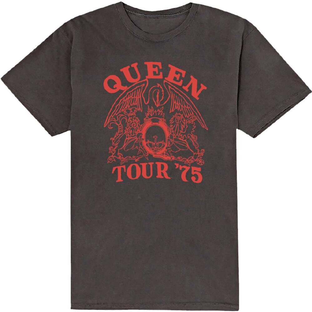 - Queen Tour '75 Red Logo Black Ss Tee M (Blk) (Med)