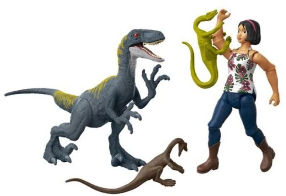 Jurassic World - Jw Human & Dino Bundle Sammy Velociraptor & Compys