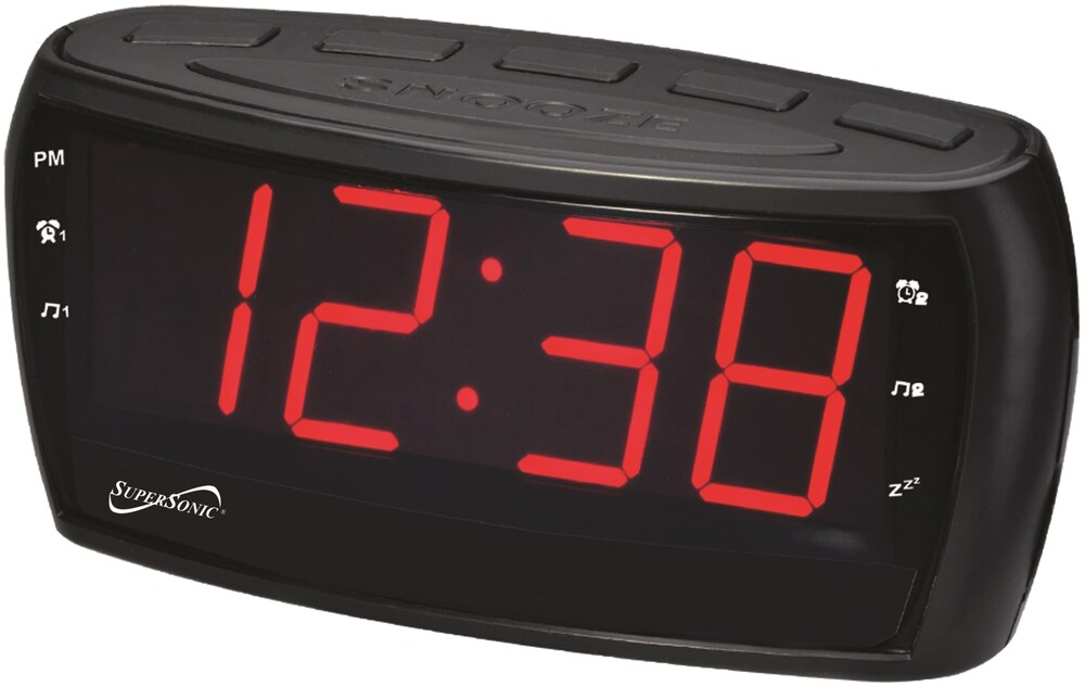 Supersonic Sc379 Digital Am/Fm Alrm Clck Radio Blk - Super Sonic SC-379 Digital AM/FM Alarm Clock Radio with Jumbo Digital Display & AUX Input (Black)