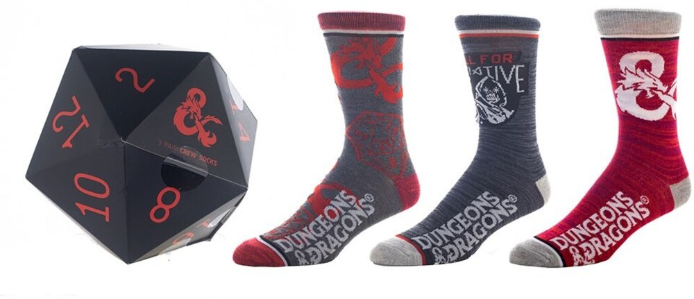 Dungeons & Dragons 3 Pair Pack Crew Socks 8-12 - Dungeons & Dragons 3 Pair 3 Pack Crew Socks Men's Shoe Size 8-12