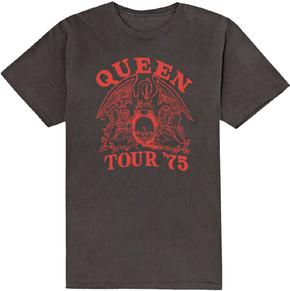 - Queen Tour '75 Red Logo Black Ss Tee L (Blk) (Lg)