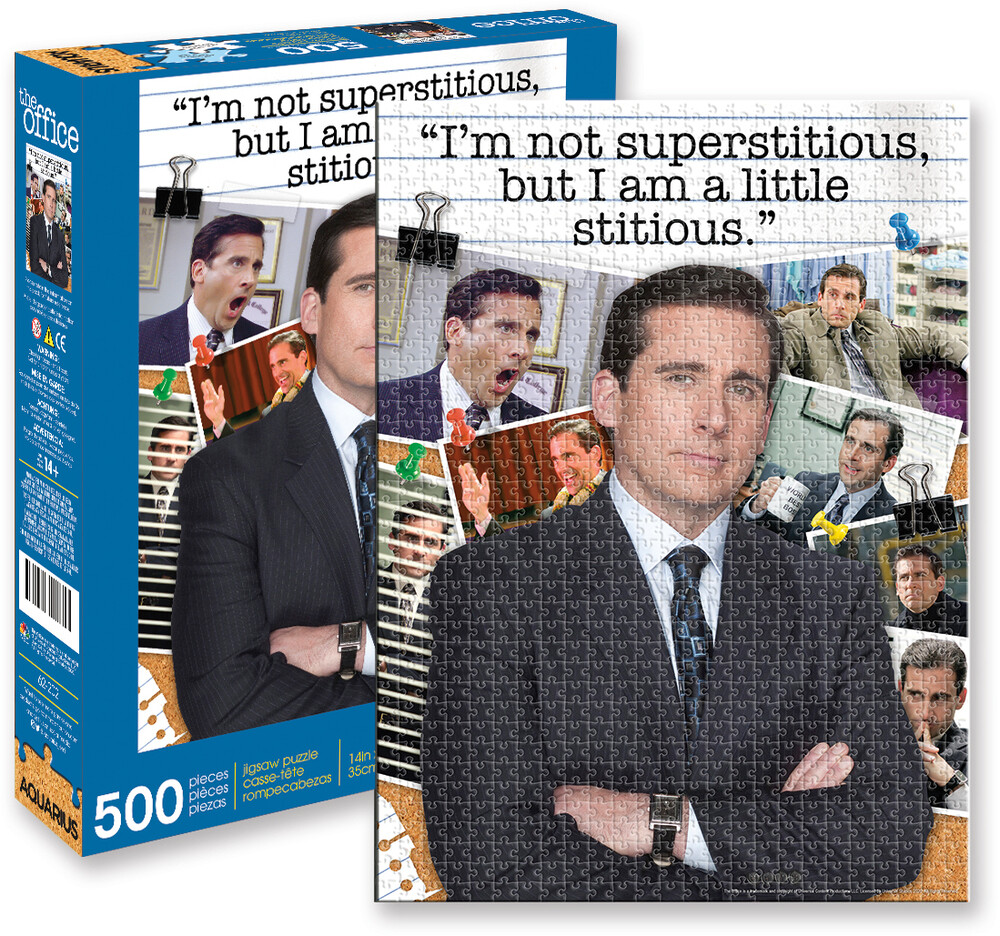 Office Michael Scott Quote 500 PC Jigsaw Puzzle - The Office Michael Scott Quote I'm Not Superstitious But I Am A LittleStitious 500 Pc Jigsaw Puzzle