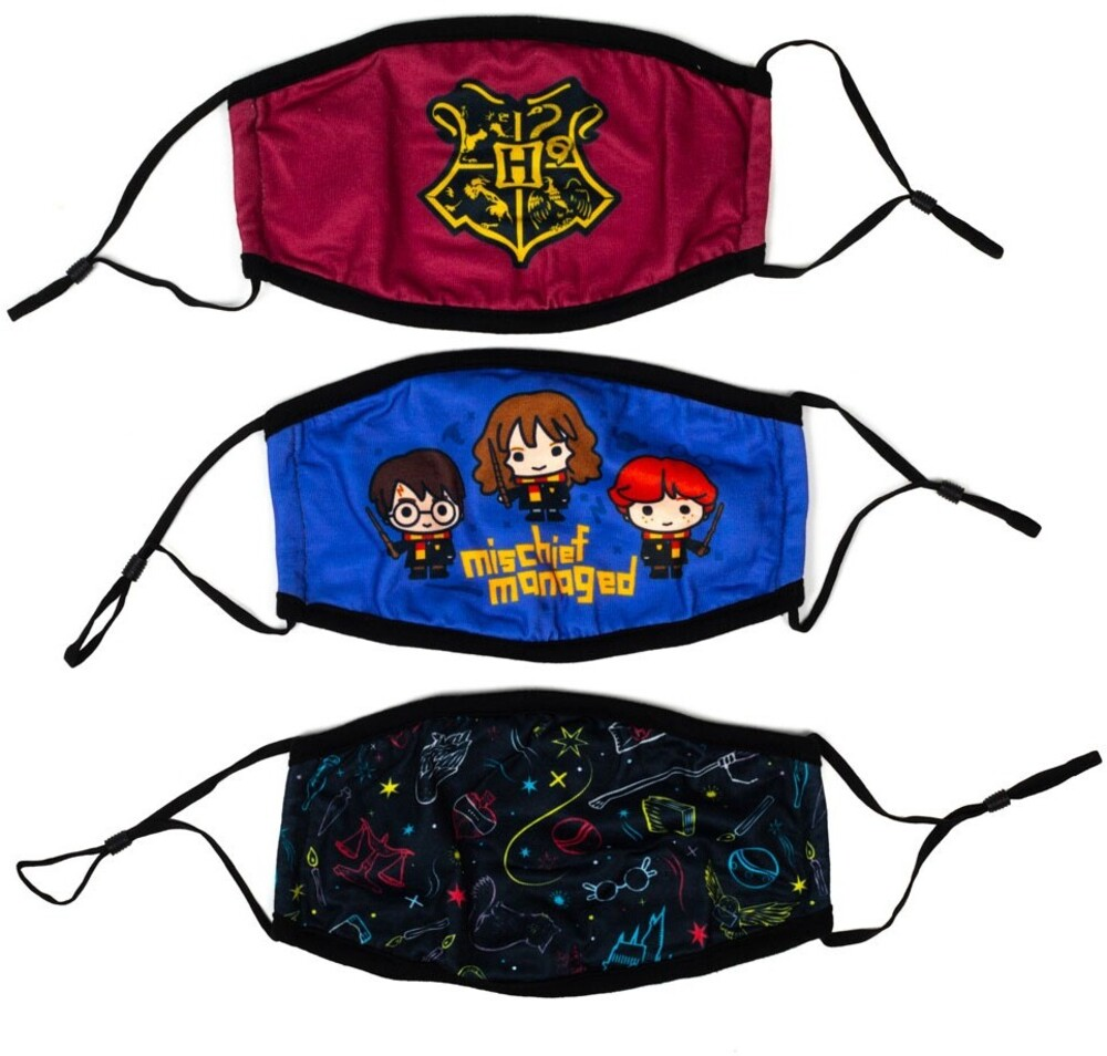 Harry Potter Adult Adjustable Face Covers 3 Pack - Harry Potter Adult Adjustable Face Covers 3 Pack