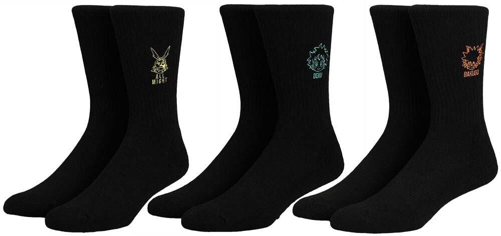 - My Hero Academia Embroidered 3pk Crew Socks 8-12