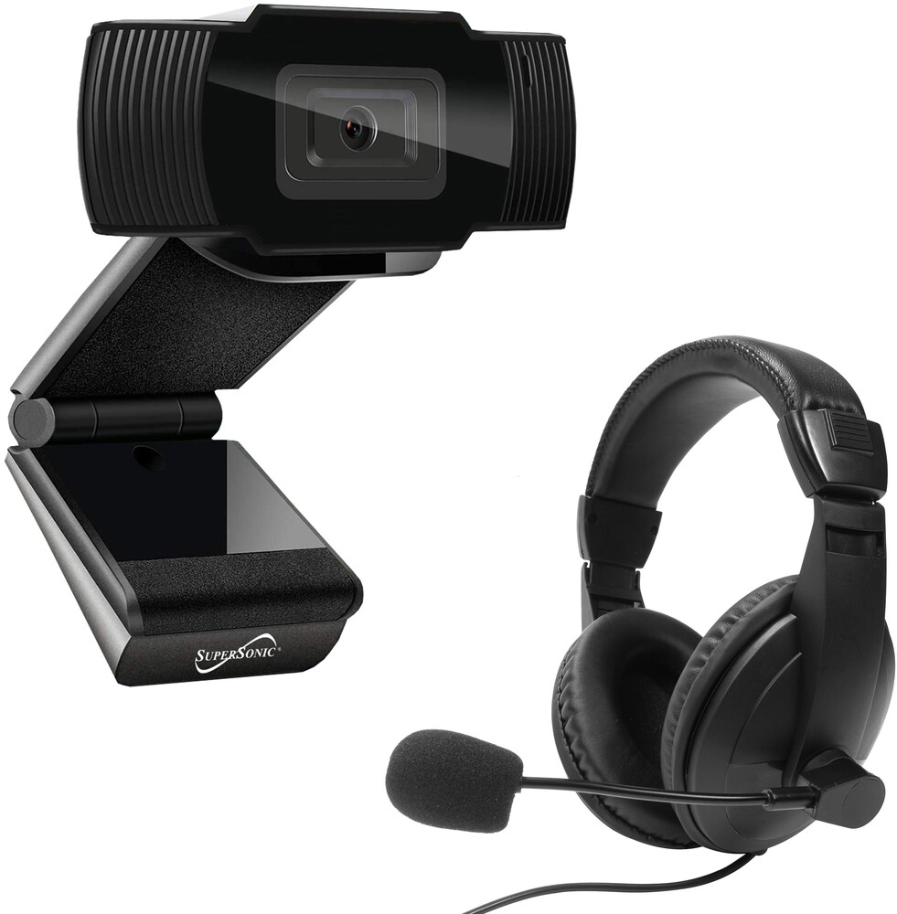 Supersonic Sc942Wch Pro-Hd Video Conf Kit Blk - Super Sonic SC-942WCH PRO-HD Video Conference Kit with 1080p VideoWebcam and Over Ear Headset with Boom Mic (Black)