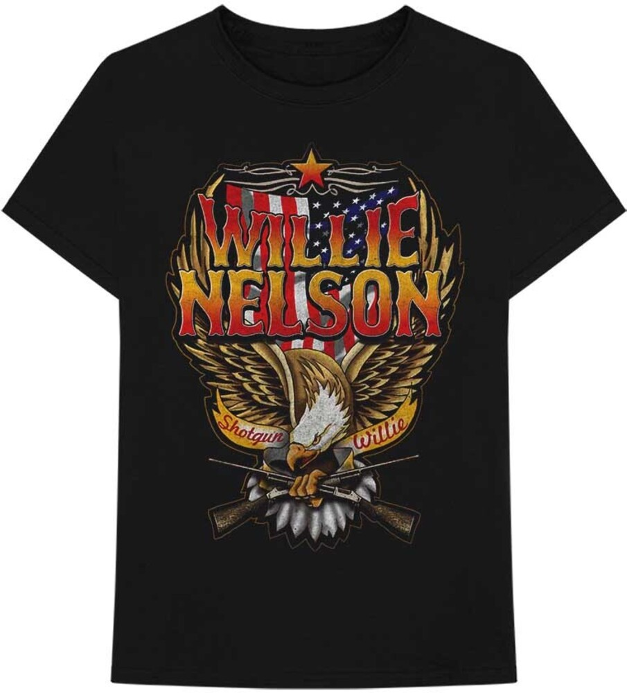 Willie Nelson - Willie Nelson Shotgun Willie Black Unisex Short Sleeve T-shirt Large