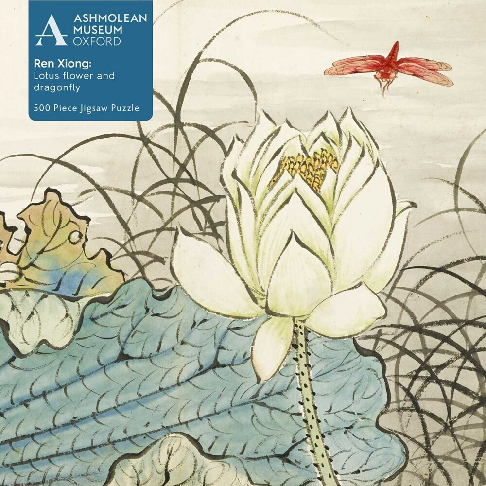 Flame Tree Studio - Adult Jigsaw Puzzle Ashmolean: Ren Xiong: Lotus Flower and Dragonfly:500-piece Jigsaw Puzzle