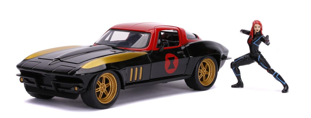 - Jada 1:24 Diecast 1969 Chevy Corvette Stingray With Black Widow Figure